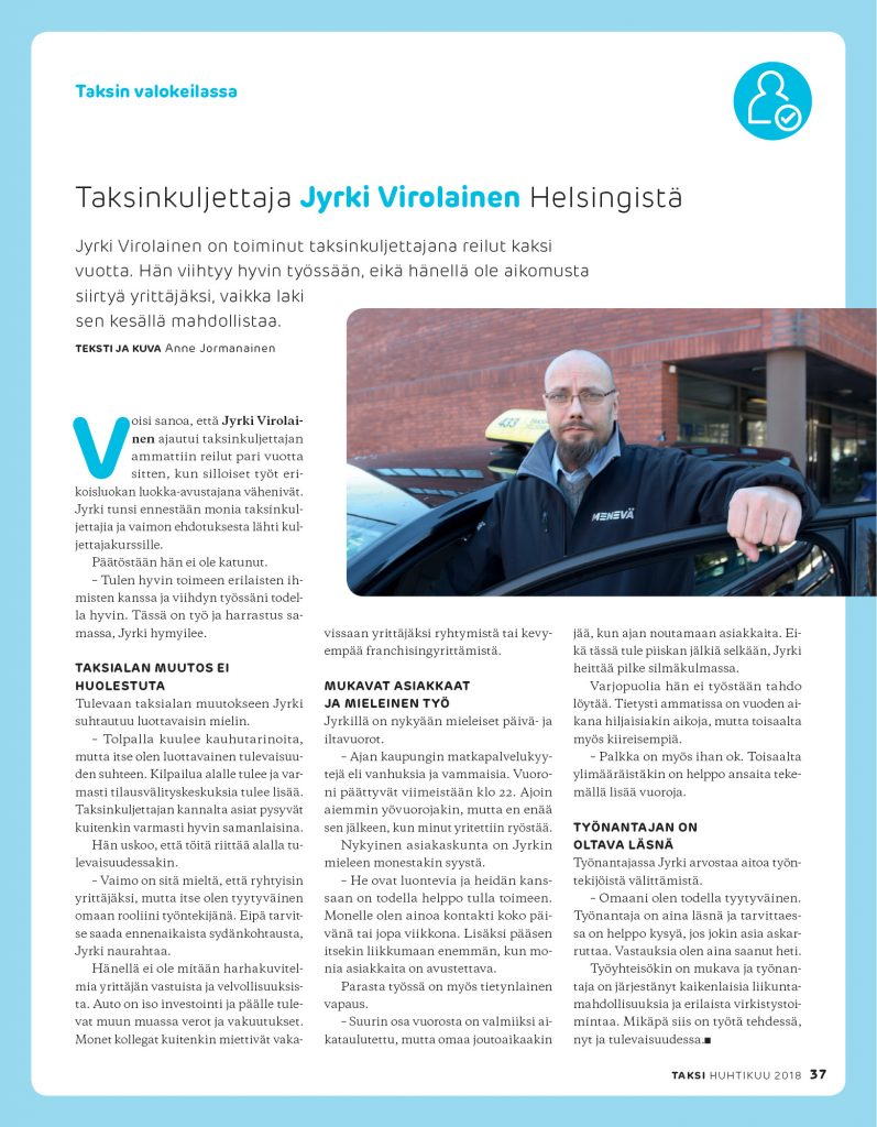 Taksinkuljettaja Jyrki Virolainen Helsingistä